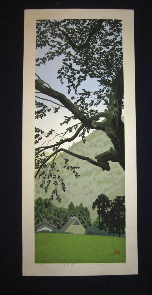 "original Japanese Shin Hanga woodblock print ""Wind of Spring"" PENCIL SIGNED by the famous Showa Shin Hanga woodblock print master Seiji Sano (1959-) made in 1996 IN EXCELLENT CONDITION"