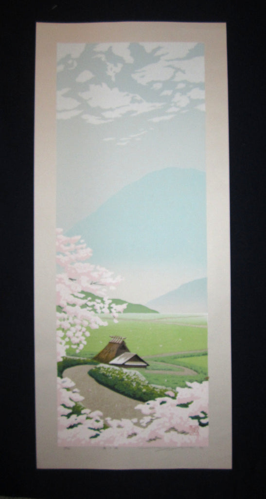 "original Japanese Shin Hanga woodblock print ""Wind of Spring"" PENCIL SIGNED by the famous Showa Shin Hanga woodblock print master Seiji Sano (1959-) made in 2004 IN EXCELLENT CONDITION"