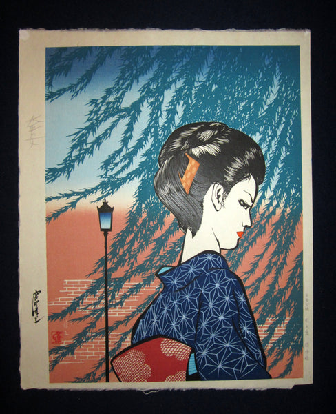 "original Japanese woodblock print ""Taisho Bijin"" signed by the famous Showa Shin Hanga woodblock print master Miyata Masayuki (1926 -1997) made in 1990s IN EXCELLENT CONDITION"
