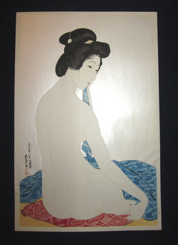 "This is an EXTRA LARGE very beautiful and rare Japanese woodblock Shin Hanga print ""Woman after Bath"" from the famous Shin-Hanga woodblock print artist Hashiguchi Goyo (1880-1921) published by the famous printmaker YuYuDo IN EXCELLENT CONDITION."
