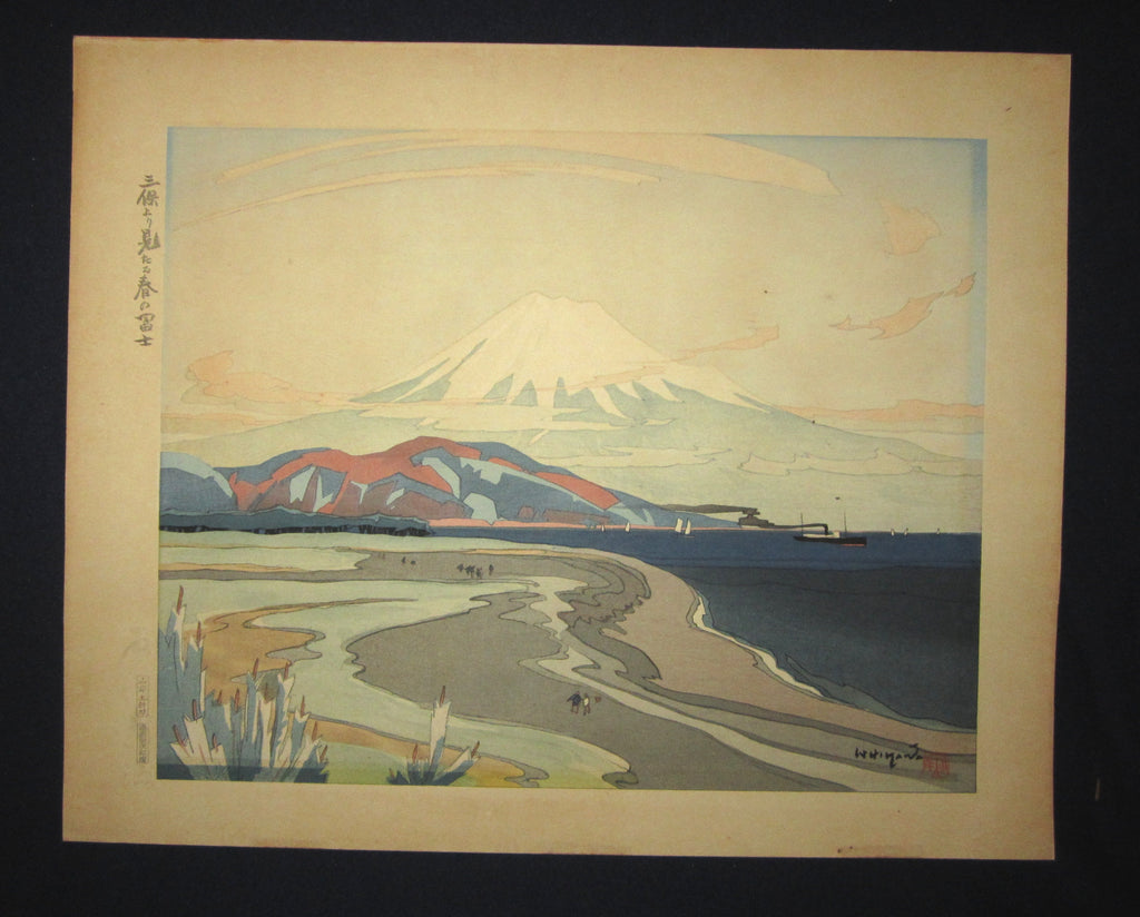 "This is an EXTRA LARGE very beautiful and special original Japanese woodblock print ""Fuji from Miho in Spring"" signed by the Famous Taisho/Showa Shin Hanga woodblock print artist Ishikawa Toraji (1875 ~1964) made in 1934."