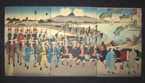 "This is a very colorful, beautiful, and special original Japanese woodblock print triptych ""Edo Samurai Marching"" signed by the famous Meiji woodblock print master Toshu Shogetsu (active 1850-1900), made in September Meiji 23, which is 1890 IN EXCELLENT CONDITION."