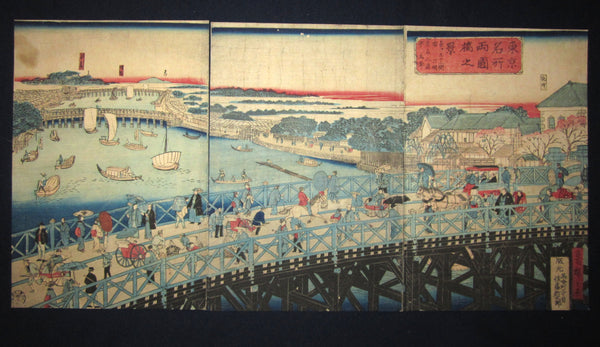 "This is a very colorful and beautiful original Japanese woodblock print triptych ""Tokyo Famous Place Two Country Bridge"" signed by the famous Meiji woodblock master Hiroshige III (1842-1894) made in Meiji 9th October, which is 1876."