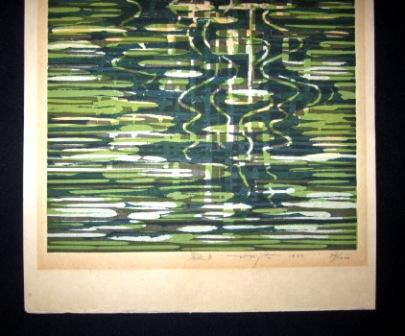 Original Japanese Woodblock Print Fujita Fumio Pencil-Sign Limit# Riverside B
