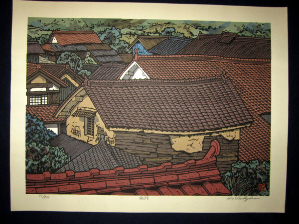 "This is a HUGE, very beautiful and special LIMITED-NUMBER (15/100) ORIGINAL Japanese Shin Hanga woodblock print ""Green Shade"" PENCIL SIGNED by the famous Showa Shin Hanga woodblock print master Kazuyuki Nishijima (1945-) made in 1980s IN EXCELLENT CONDITION."