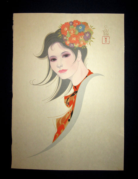 "This is a very beautiful and unique original Japanese woodblock print masterpiece ""Bijin Beauty Shallow Spring"" signed by the famous Showa Shin-Hanga woodblock print master Iwata Sentaro (1901-1974) made in 1970s IN EXCELLENT CONDITION."