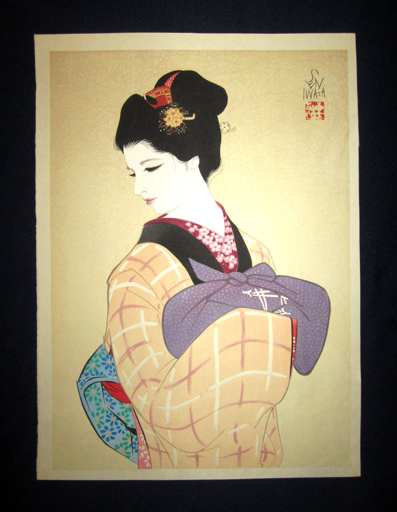 "This is a very beautiful and unique original Japanese woodblock print masterpiece ""Bijin Beauty Old Style"" signed by the famous Showa Shin-Hanga woodblock print master Iwata Sentaro (1901-1974) made in 1970s IN EXCELLENT CONDITION.  This is an original woodblock print about 40 years old."
