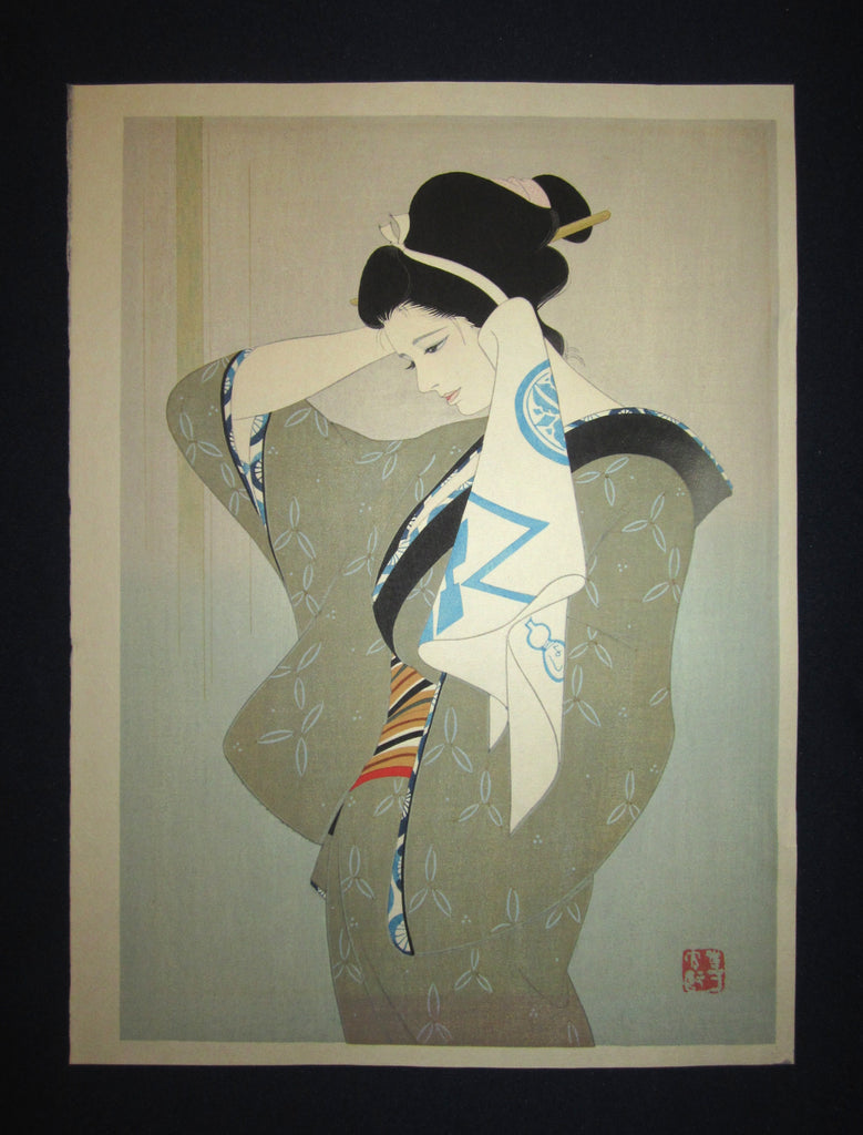"This is on a very beautiful and unique original Japanese woodblock print masterpiece ""Bijin Beauty after Bath"" signed by the famous Showa Shin-Hanga woodblock print master Iwata Sentaro (1901-1974) made in 1970s IN EXCELLENT CONDITION."