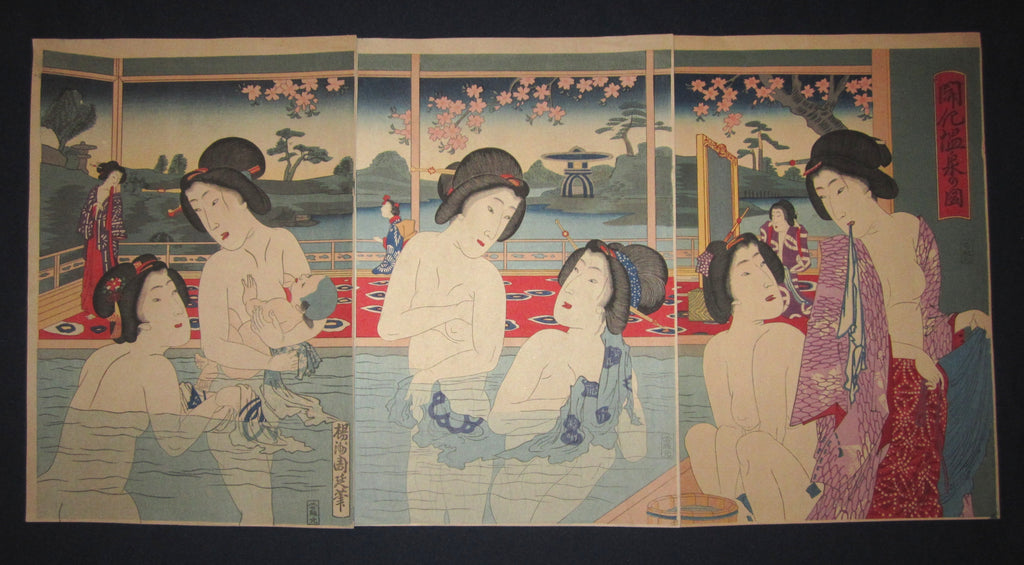 "This is a very beautiful, colorful and rare FIRST EDITION original Japanese woodblock print triptych ""Hot Spring Bath"" signed by the famous Meiji woodblock print master Chikanobu (1838-1912), made in Meiji Era,"