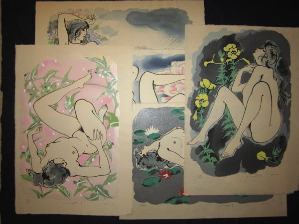 "This is a set of Five HUGE very beautiful, and special LIMITED-NUMBER (107/205) ORIGINAL Japanese woodblock print ""Flower Nude Women"" PENCIL SIGNED by the famous Showa Shin Hanga woodblock print master Furusawa Iwami (1912-2000) made in 70s with an original artist WATER  MARK on each print IN EXCELLENT CONDITION."