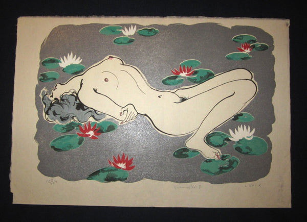 Five HUGE Original Japanese Woodblock Print Set Flower Nude Women LIMIT Number Pencil Sign Furusawa Iwami
