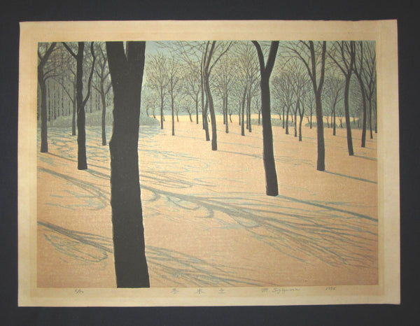 "HUGE very beautiful and original LIMITED NUMBER(6/50) Japanese Shin Hanga woodblock print ""Winter Trees"" PENCIL SIGNED by the famous Showa Shin Hanga woodblock master Motosugu Sugiyama (1925-) made in 1986."