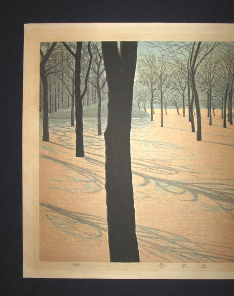 HUGE Orig Japanese Woodblock Print PENCIL Sign Limit# Motosugu Sugiyama Winter Trees