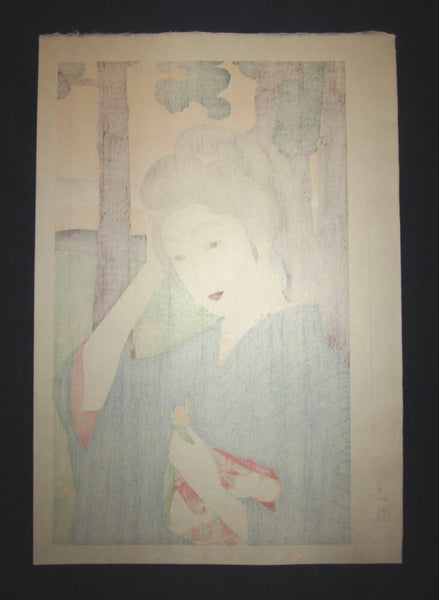 Large Japanese Woodblock Print Hashiguchi Goyo Bijin Beauty