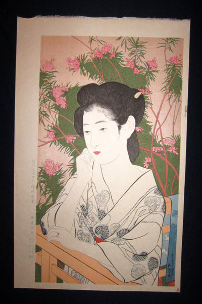 "This is an EXTRA LARGE very beautiful and rare Japanese woodblock Shin Hanga print ""Hot Spring Lodge"" from the famous Shin-Hanga woodblock print artist Hashiguchi Goyo (1880-1921) published by the famous printmaker Danseisha bearing the ORIGINAL Danseisha publisher's chop marks IN EXCELLENT CONDITION.  T"