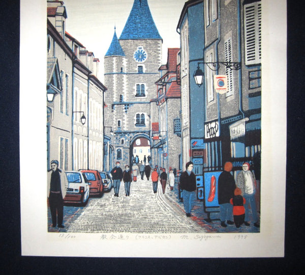 Huge Orig Japanese Woodblock Print PENCIL Sign Limit# Motosugu Sugiyama Cathedral Tower Europe 1998