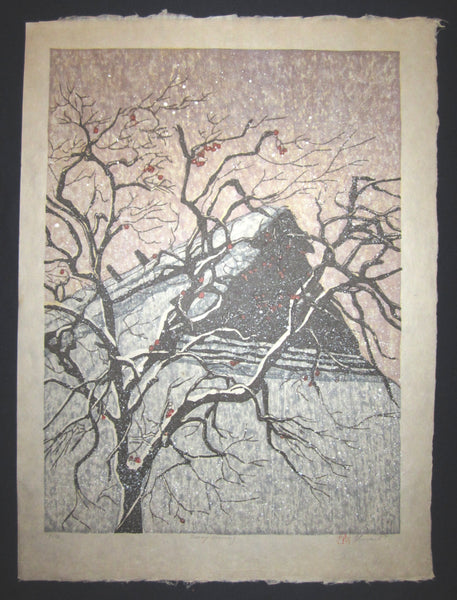 "This is an HUGE very beautiful and LIMITED NUMBER (94/100) ORIGINAL Japanese Shin Hanga woodblock print ""Snow Warning "" PENCIL SIGNED by the famous Showa Shin Hanga woodblock master Joshua Rome (1953-) made in 1987 IN EXCELLENT CONDITION."