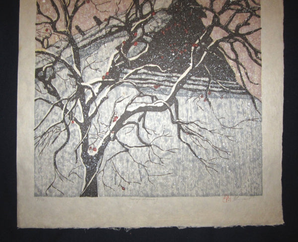 Huge Orig Japanese Woodblock Print PENCIL Sign Limit# Joshua Rome Snow Warning 1987