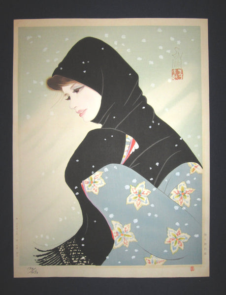 "This is a Huge very beautiful, unique and LIMITED-NUMBER (170/450) original Japanese woodblock print masterpiece ""Blizzard"" signed by the famous Showa Shin-Hanga woodblock print master Iwata Sentaro (1901-1974) published by the famous printmaker YuYuDo in 1970s IN EXCELLENT CONDITION."