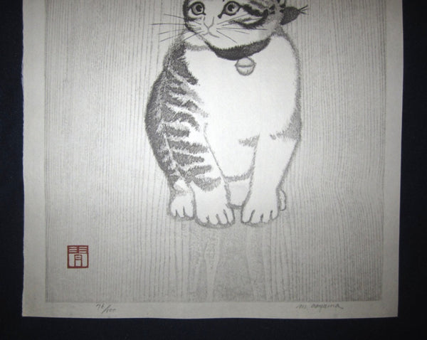 Orig Japanese woodblock print LIMITED# PENCIL SIGN Aoyama Little Cutie Cat in Silence