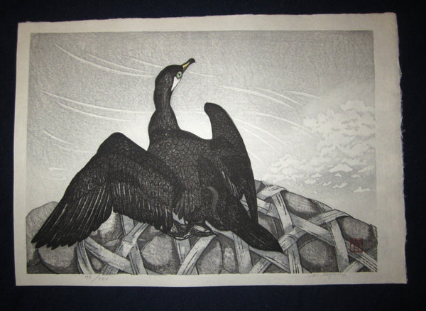 "This is an Extra LARGE, very beautiful and rare LIMITED NUMBER (73/100) ORIGINAL Japanese woodblock print masterpiece ""Black Albatross"" PENCIL SIGNED by the famous Showa Sosaku Hanga woodblock print master Aoyama Masaharu (Seiji) (1893-1969), made in the Showa Era IN EXCELLENT CONDITION."