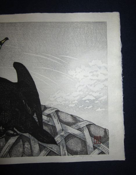 Orig Japanese woodblock print LIMITED# PENCIL SIGN Aoyama Black Albatross