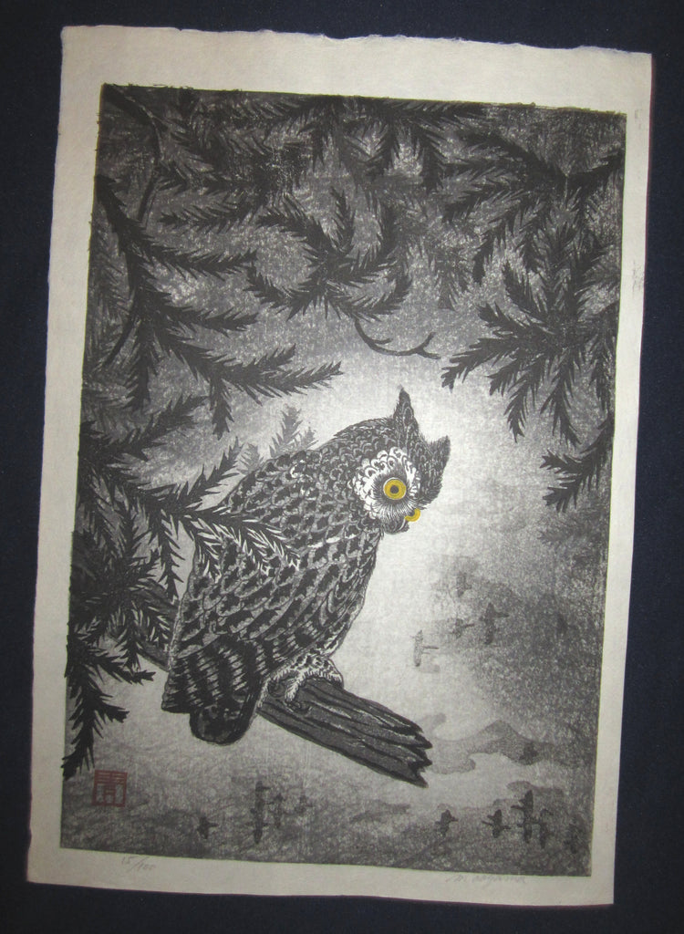 "This is an Extra LARGE, very beautiful and rare LIMITED NUMBER (15/100) ORIGINAL Japanese woodblock print masterpiece ""Owl"" PENCIL SIGNED by the famous Showa Sosaku Hanga woodblock print master Aoyama Masaharu (Seiji) (1893-1969), made in the Showa Era IN EXCELLENT CONDITION."