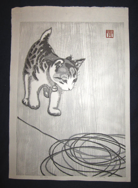 "This is an Extra LARGE, very beautiful and rare LIMITED NUMBER (54/100) ORIGINAL Japanese woodblock print masterpiece ""Little Cutie Cat Solving Puzzle"" PENCIL SIGNED by the famous Showa Sosaku Hanga woodblock print master Aoyama Masaharu (Seiji) (1893-1969), made in the Showa Era IN EXCELLENT CONDITION."