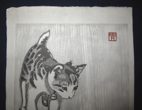 Orig Japanese woodblock print LIMITED# PENCIL SIGN Aoyama Little Cutie Cat Solving Puzzle