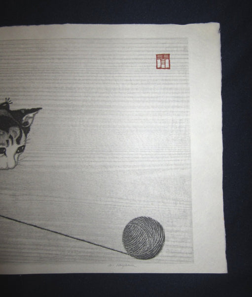 Orig Japanese woodblock print LIMITED# PENCIL SIGN Aoyama Little Cutie Cat Playing with Knitting Yarn
