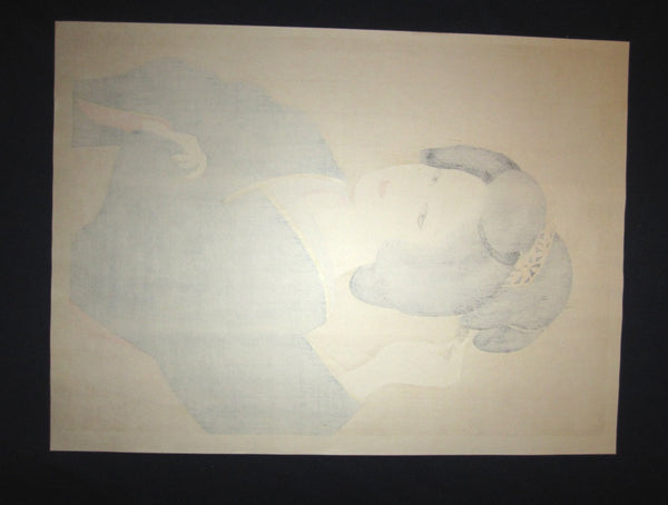 A HUGE Orig Japanese Woodblock Print, LIMIT# PENCIL Sgn Ishida Waka Shallow Spring
