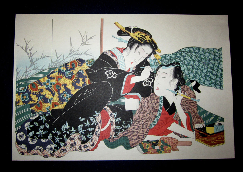 "This is a very beautiful and special Japanese Erotic Shunga woodblock print ""Hair Arrange"" made in 1950s IN EXCELLENT CONDITION."