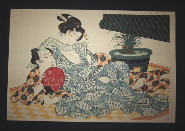 "This is a very beautiful and special Japanese Erotic Shunga woodblock print ""Summer Posture"" made in 1950s IN EXCELLENT CONDITION."