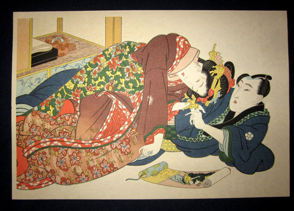 "This is a very beautiful and special Japanese Erotic Shunga woodblock print ""Appreciate Painting Together"" made in 1950s IN EXCELLENT CONDITION."