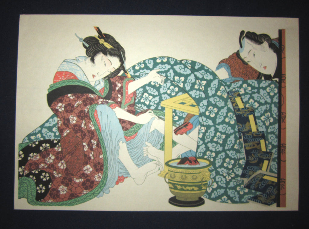 "This is a very beautiful and special Japanese Erotic Shunga woodblock print ""Warm up in Bedroom"" made in 1950s IN EXCELLENT CONDITION."