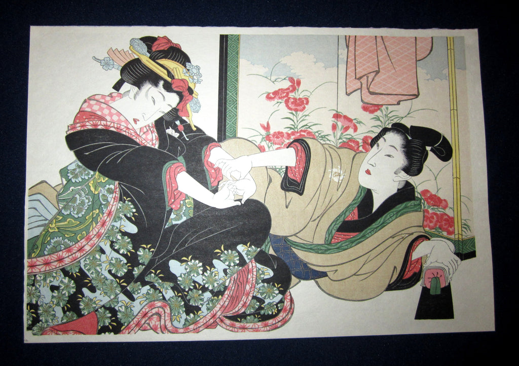 "This is a very beautiful and special Japanese Erotic Shunga woodblock print ""Tug War"" made in 1950s IN EXCELLENT CONDITION."