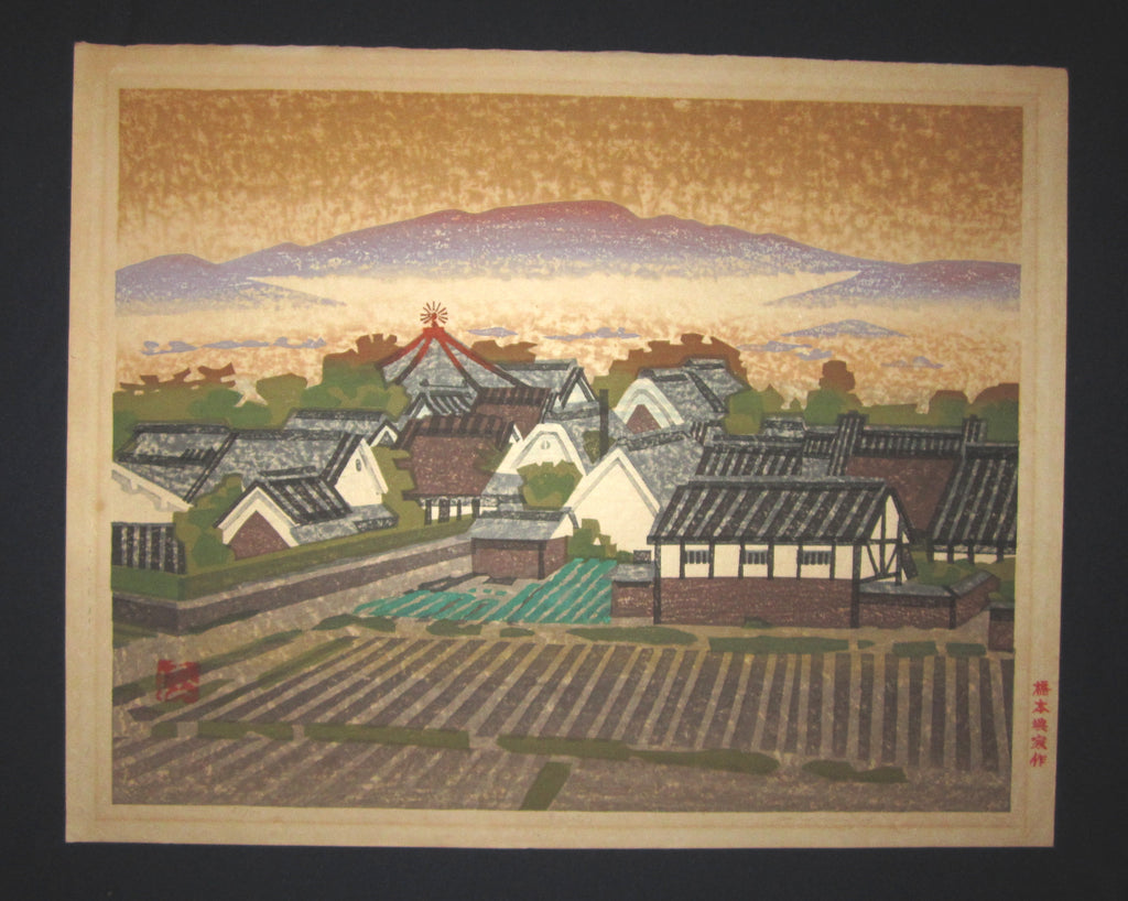 This is a HUGE very beautiful, special and LIMITED-NUMBER (68/80) original Japanese woodblock Shin Hanga print PENCIL SIGNED by the Famous Taisho/Showa Shin Hanga woodblock print master Hashimoto Okiie (1899-1993) made in 1973 IN EXCELLENT CONDITION.