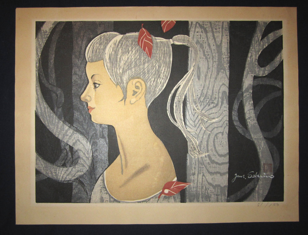 "This is a HUGE very beautiful and special original Japanese woodblock print ""Girl Among Trees"" signed by the Famous Taisho/Showa Shin Hanga woodblock print artist Junichiro Sekino (1914 ~1988) made in 1980s with an artist  WATER MARK."