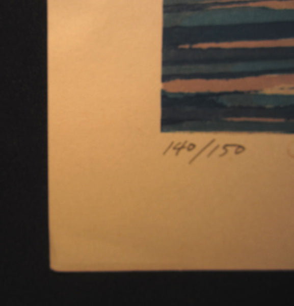 Huge Original Japanese Woodblock Print Pencil-Signed Limited-Number Fujita Fumio Lighthouse (2)