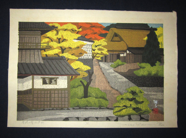 "This is an EXTRA LARGE very beautiful and rare LIMITED-EDITION (116/200) original Japanese Shin Hanga woodblock print ""EdoVillage"" PENCIL SIGNED by the famous Showa Shin Hanga woodblock print master Masado Ido (1945-2016) made in 1975 IN EXCELLENT CONDITION."