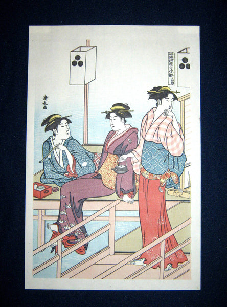 Japanese Woodblock Print Triptych Kiyonaga Torii Cool Summer Fun by River
