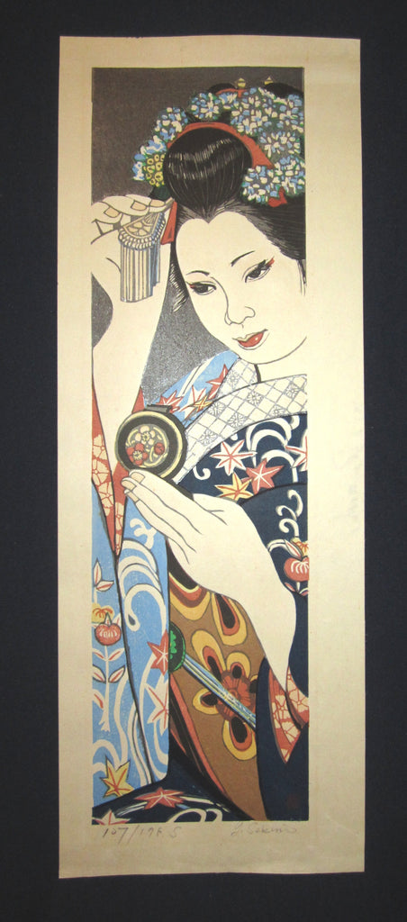 "This is a HUGE very beautiful and special original LIMITED-NUMBER (107/175 S) Japanese woodblock print ""Maiko"" PENCIL SIGNED by the Famous Taisho/Showa Shin Hanga woodblock print artist Junichiro Sekino (1914 ~1988) made in 1980s with an artist Water Mark."