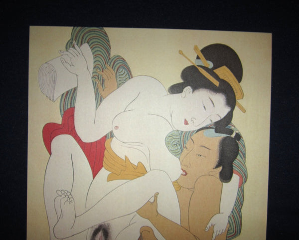 Original Japanese Woodblock Print Erotic Shunga Taisho Era