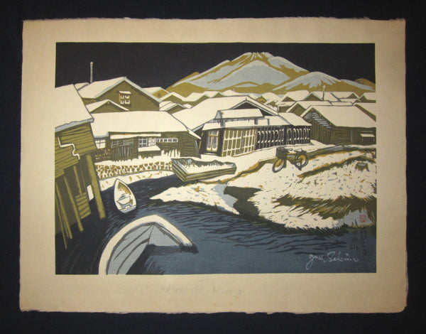 "This is a HUGE very beautiful and special original Japanese woodblock print ""Hakkoda Mountains"" signed by the Famous Taisho/Showa Shin Hanga woodblock print artist Junichiro Sekino (1914 ~1988) made in 1980s IN EXCELLENT CONDITION."