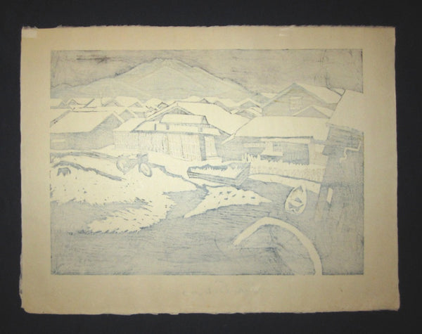 Huge Original Japanese Woodblock Print Junichiro Sekino Hakkoda Mountains Water Mark
