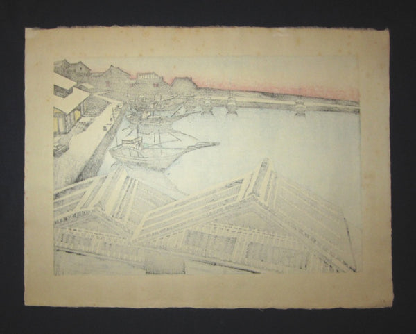 Huge Original Japanese Woodblock Print Junichiro Sekino Fisherman Harbor Water Mark