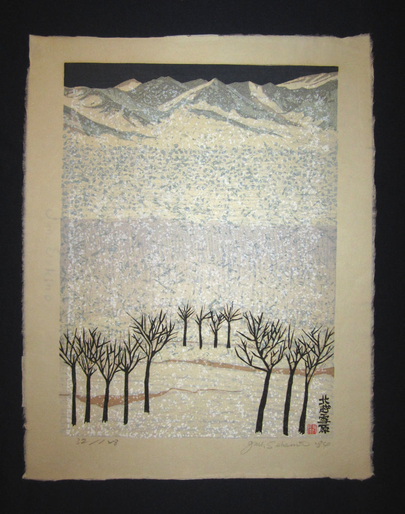 "This is a HUGE very beautiful and special LIMITED-NUMBER (32/128) original Japanese woodblock print ""Snow Scenery of North Country"" PENCIL SIGNED by the Famous Taisho/Showa Shin Hanga woodblock print artist Junichiro Sekino (1914 ~1988) made in 1984 IN EXCELLENT CONDITION."