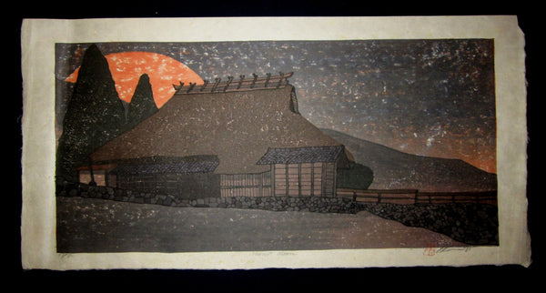 "This is an HUGE very beautiful and LIMITED NUMBER (48/80) ORIGINAL Japanese Shin Hanga woodblock print ""Harvest Moon"" PENCIL SIGNED by the famous Showa Shin Hanga woodblock master Joshua Rome (1953-) made in 1991."