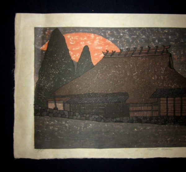 Huge Orig Japanese Woodblock Print PENCIL Sign Limit# Joshua Rome Harvest Moon