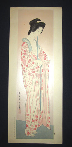 "This is an EXTRA LARGE very beautiful and rare Japanese woodblock Shin Hanga print ""Woman after Bath"" from the famous Shin-Hanga woodblock print artist Hashiguchi Goyo (1880-1921) published by the famous printmaker YuYuDo."